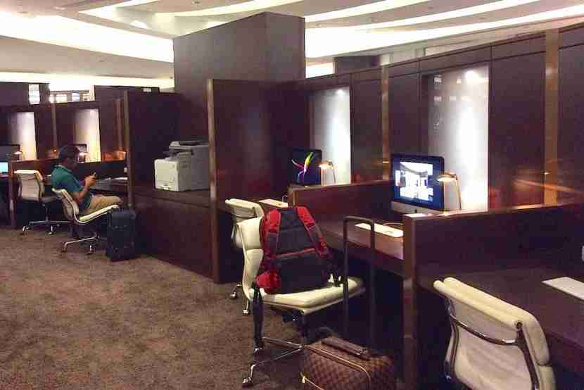 The work area, like the rest of the lounge, was crowded.