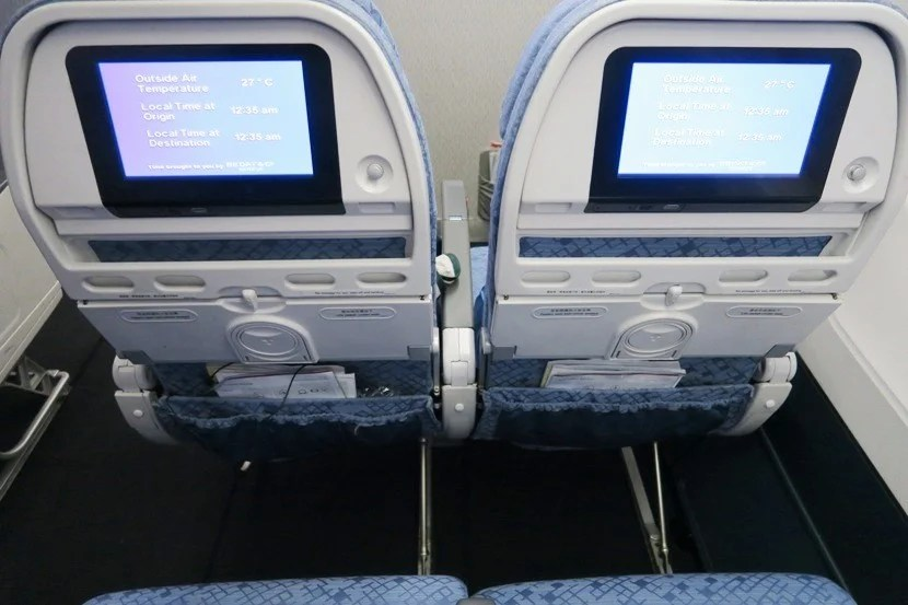 There's no entertainmentbox impeding legroom in these seats.
