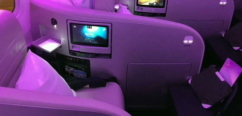 A business-class seat on board Air New Zealand's Dreamliner.