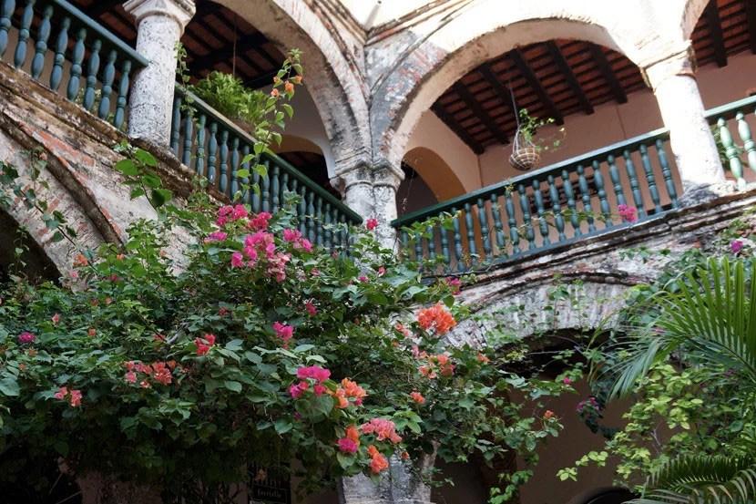 The elegantly faded, bougainvillea-draped courtyard of Convento de la Popa.