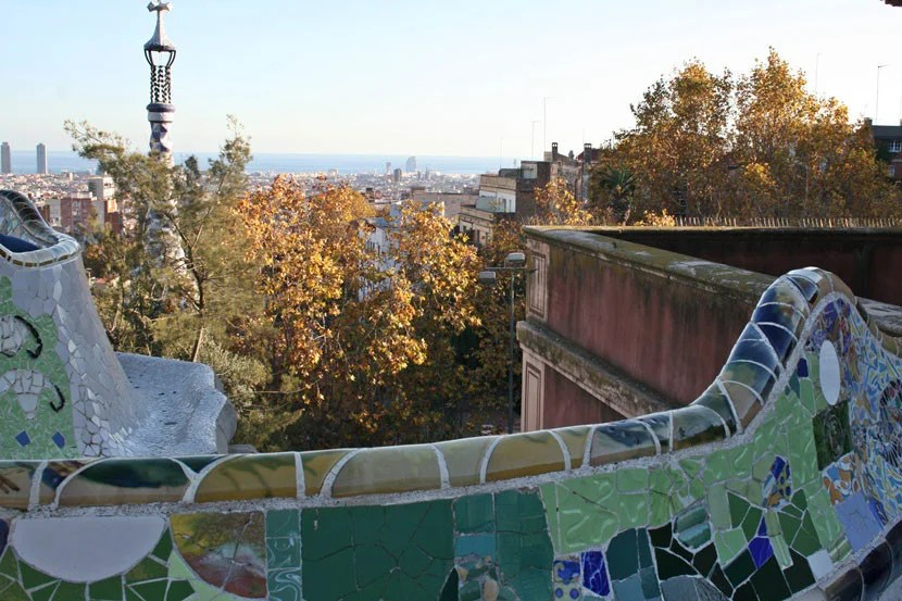 View from the top of the hill in Park Güell.