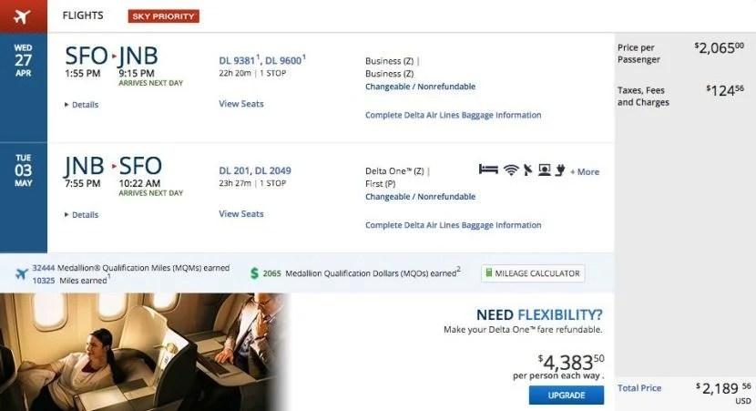 San Francisco (SFO) to Johannesburg (JNB) for $2,190 on Delta.