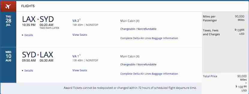 Virin Australia availability when using SkyMiles looks fantastic through this year.
