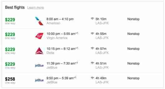 There are plenty of flight options between Las Vegas and New York City.