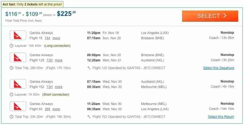 Los Angeles (LAX) to Auckland (AKL) for $225 on Qantas.