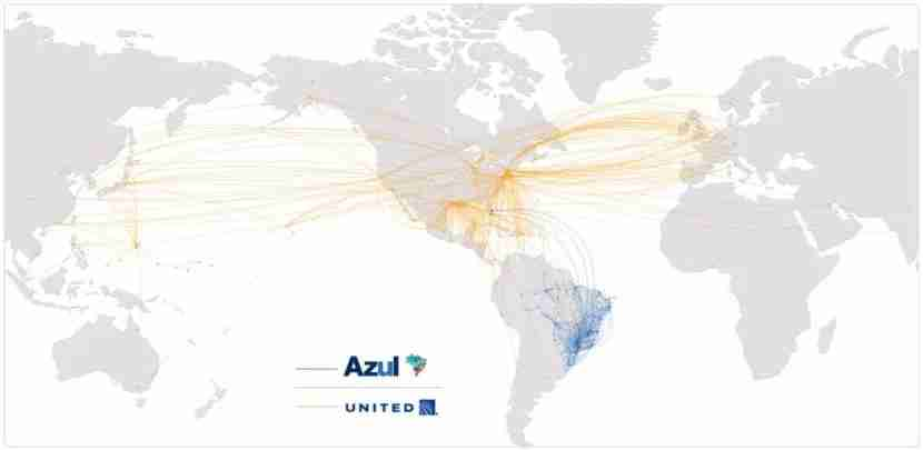 A combined United and Azul route map.
