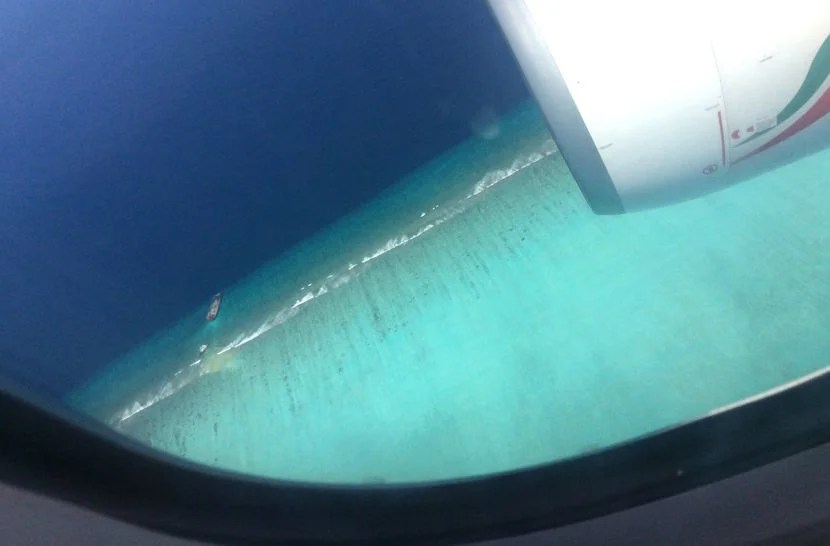 Just before landing in Malé.