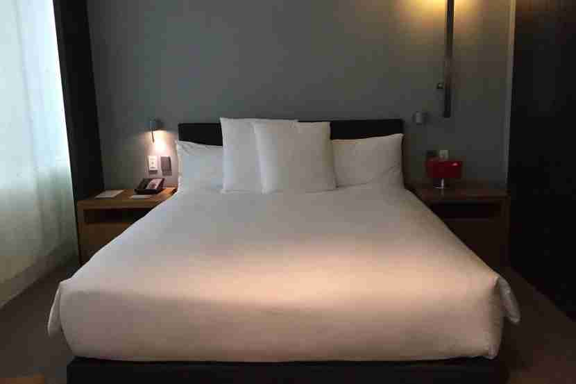 Our cozy bed at the Andaz 5th Avenue.