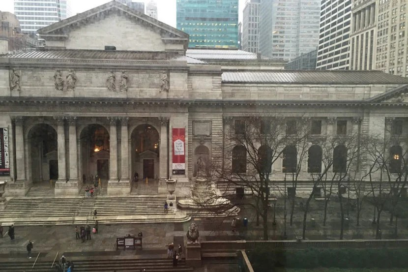 The view from our room, looking across the street to the gorgeous New York Public Library building.