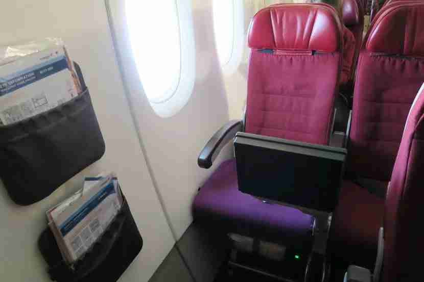 The IFE screen for seat 74K is fine unless you also want to use your laptop.