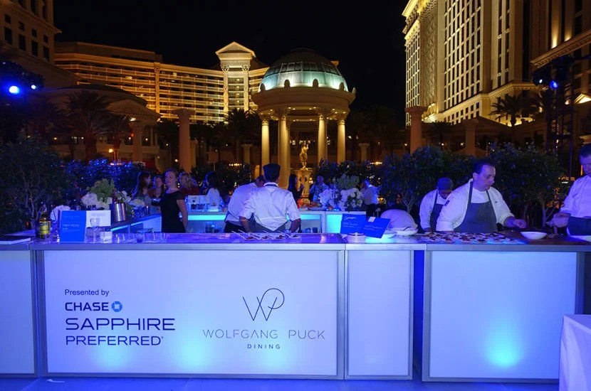 The Wolfgang Puck area at the Chase Sapphire Preferred lounge.