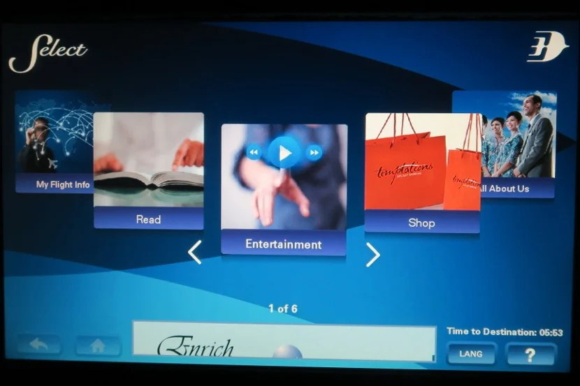 The IFE system featured many options to keep passengers busy.