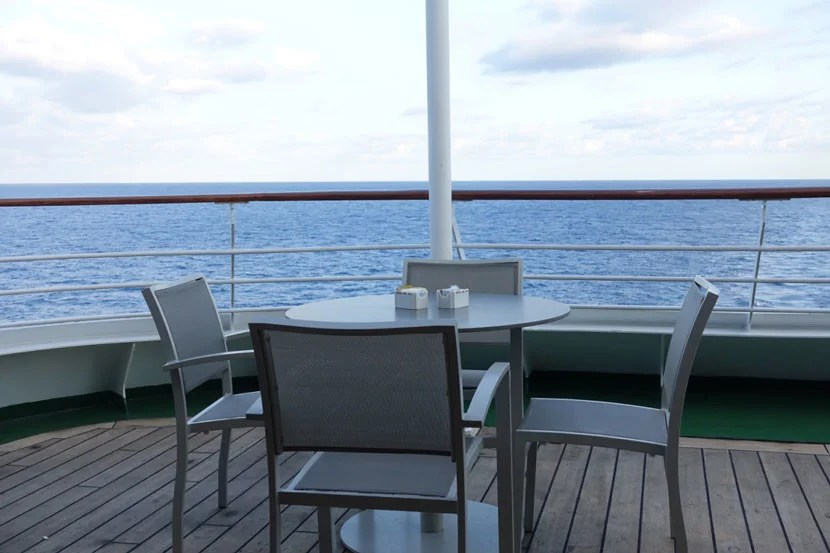 My favorite outside table, where I enjoyed most of my meals on the Adonia.