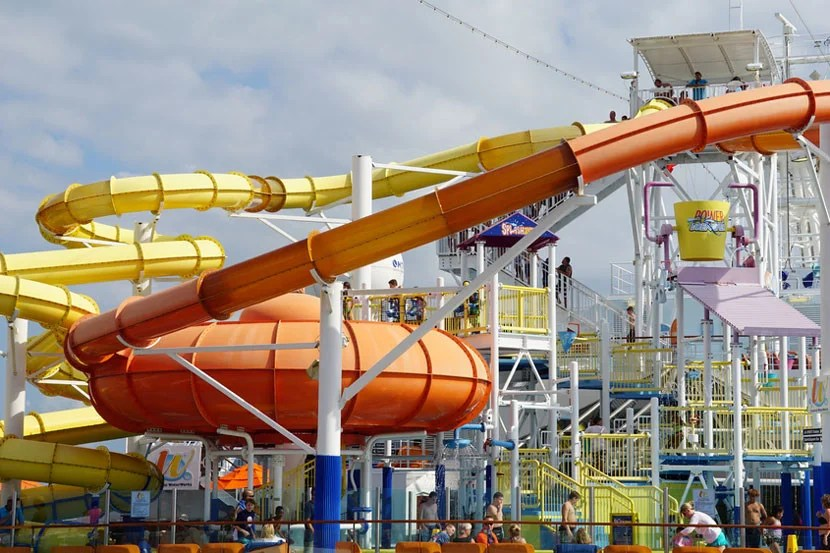 Water slides on the Carnival Breeze. Image courtesy of Shutterstock.