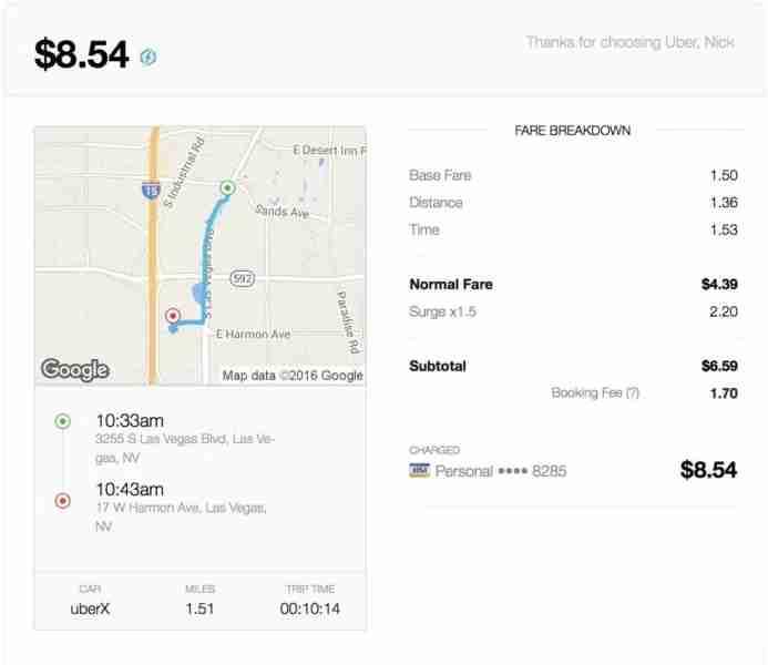 uber surge pricing vegas