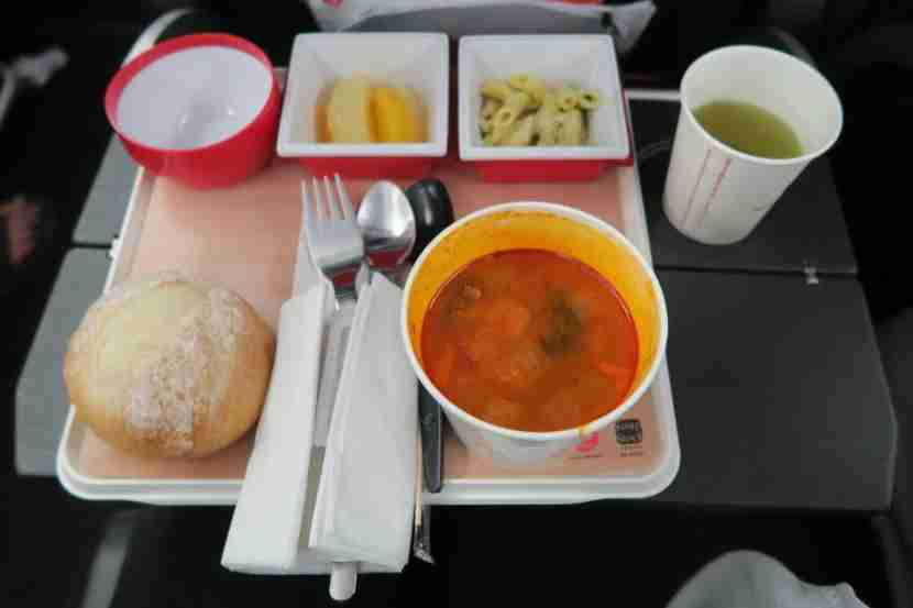 """The pre-landing meal — soup from Tokyo chain """"Soup Stock Tokyo"""" — was a unique yet interesting meal."""