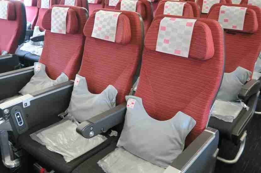 A pillow and blanket awaited passengers on each seat.