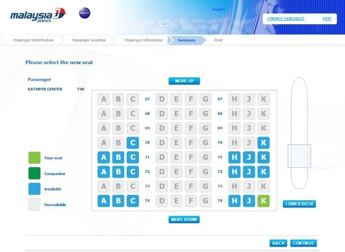 Any available seat could be chosen for free at check-in on Malaysia Airlines' website.
