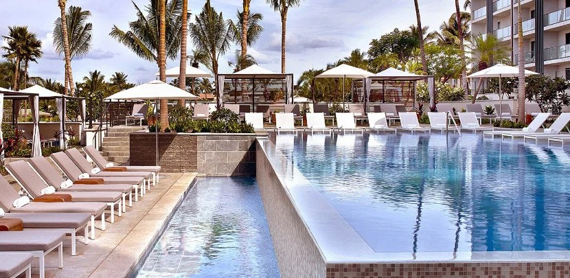 If you manage to book a suite award, you'll have a view of the pool.