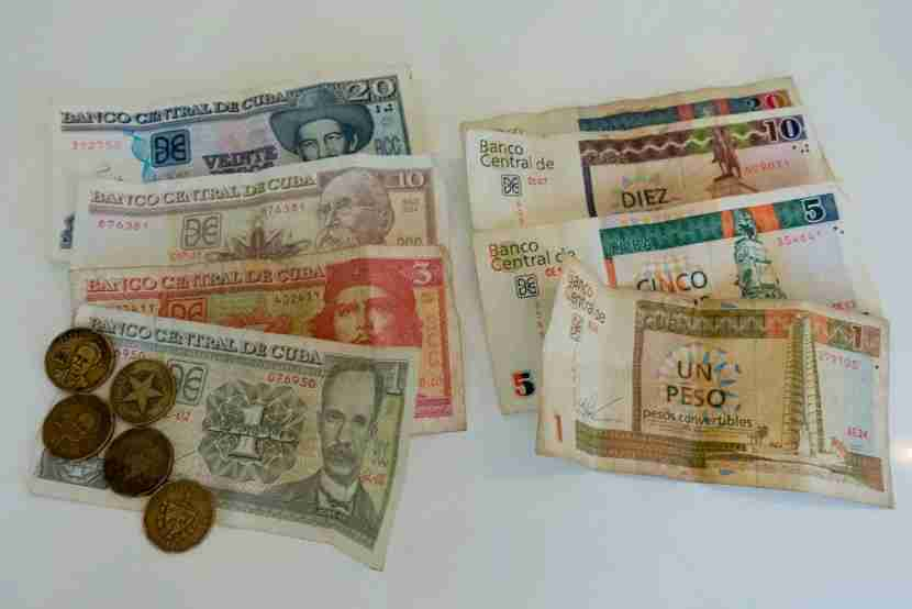 On the left Cuban Pesos, and the right, CUC (Cuban Covertible Pesos).