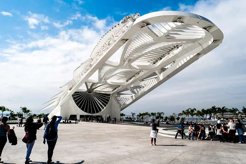 The striking Museum of Tomorrow looks like a sailfish soaring out of the ocean.