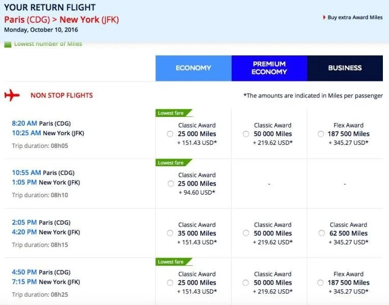 Crediting delta flights to air france klm flying blue for Flights ny to paris