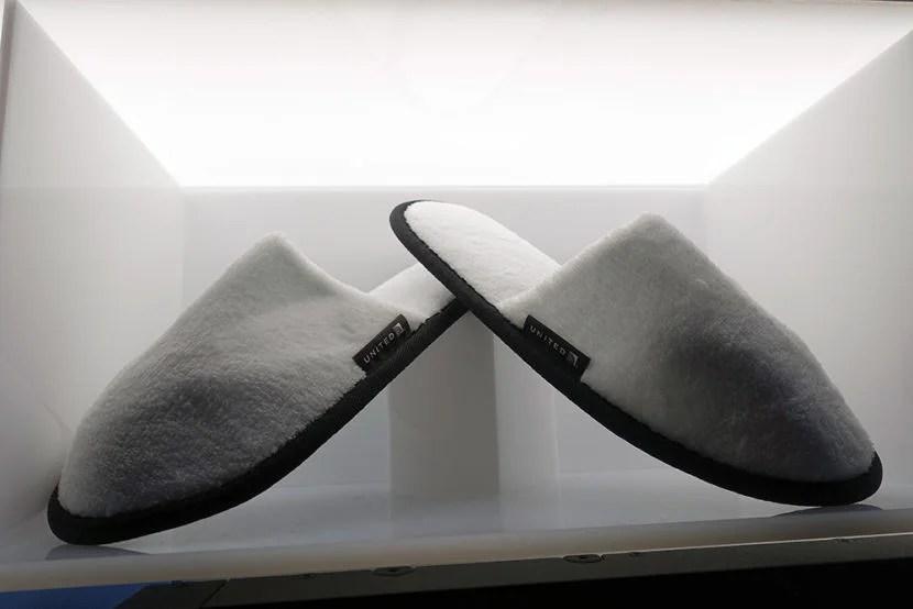 White slippers.
