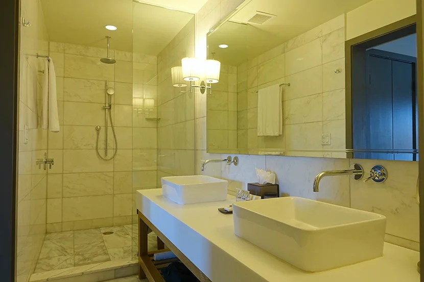 The bathroom was pretty no-frills, but it was on the spacious side.