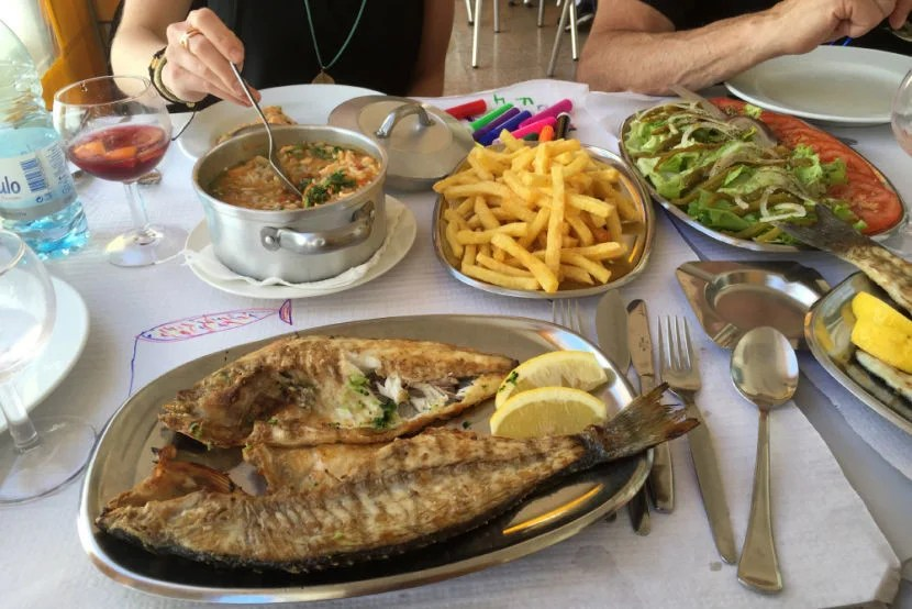A seafood feast in Portugal.