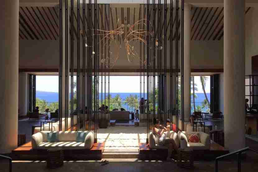 The spectacular open-air lobby of the Andaz Maui