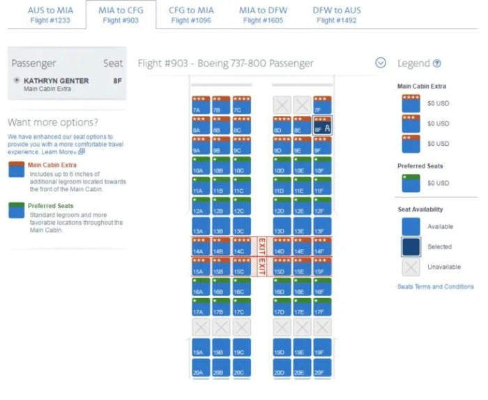 Seating is pretty wideopen for the inaugural flight from MIA to CFG.