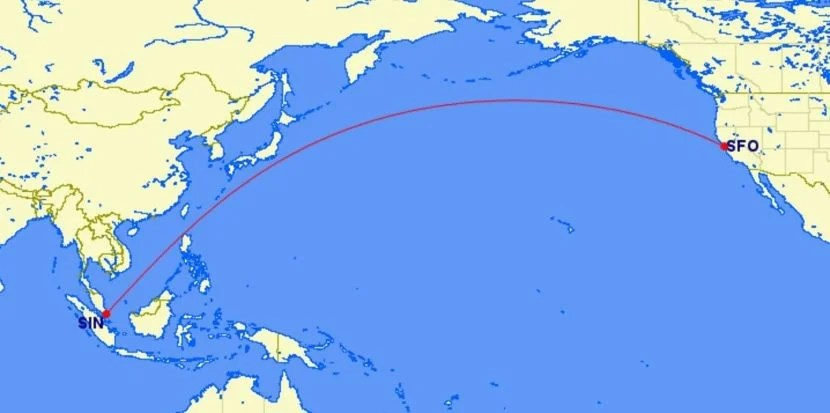 Singapore Will Launch Nonstop Service Between SIN and SFO on shenzhen airlines route map, air new zealand route map, air france route map, united route map, eva air route map, syrian airlines route map, el al airlines route map, aeroflot airline route map, air berlin route map, qantas route map, mokulele airlines route map, emirates airlines route map, tiger air route map, pakistan airlines route map, lan ecuador route map, alitalia airlines route map, shanghai airlines route map, world airline route map, jetstar route map, thai airways route map,