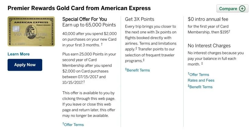 Targeted 65,000-Point Sign-Up Bonus on Premier Rewards Gold