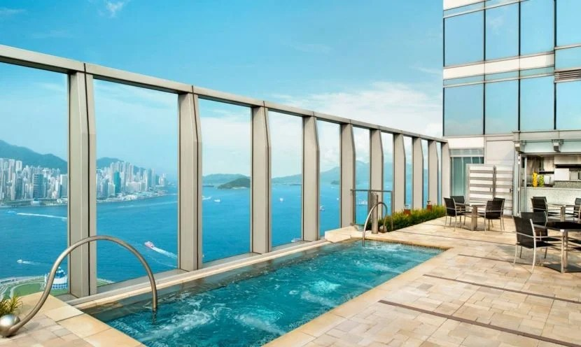 Check out Kowloon Bay from the Wet Deck at the W Hong Kong. Photo courtesy of the hotel.