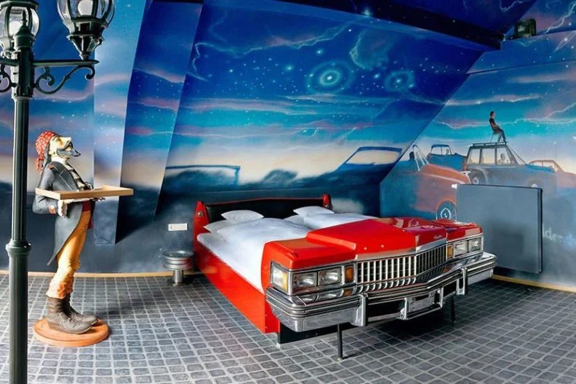 The Drive-In Cinema Room. Image courtesy of the V8 Hotel.