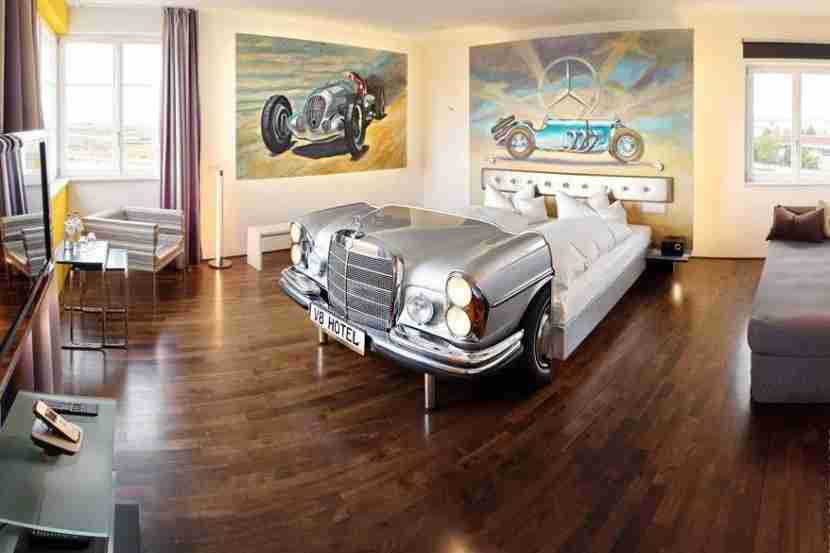 The Mercedes suite, Benz bed. Image courtesy of the V8 Hotel.
