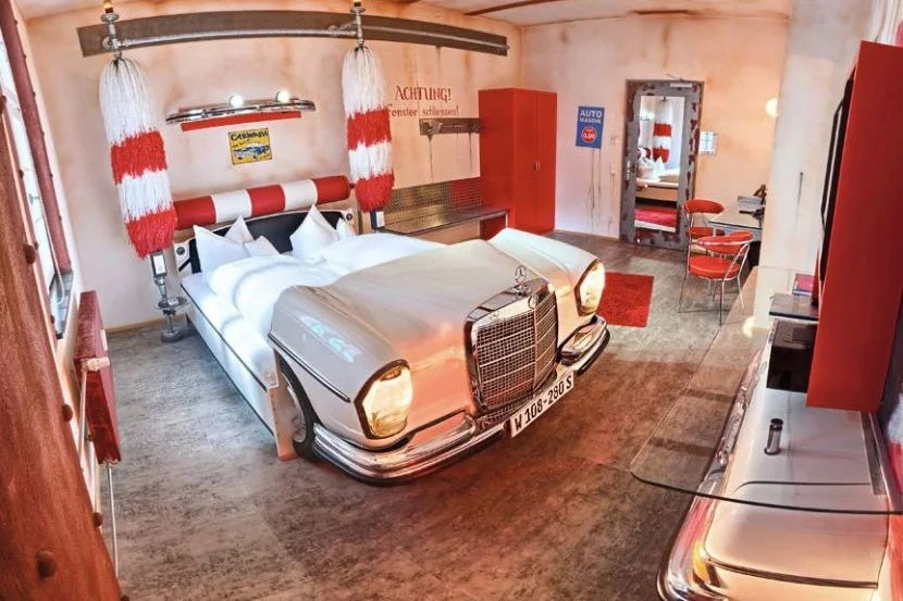 <em>The Car Wash room. You don't have to play the Rose Royce song if you don't like R&B. Image courtesy of the V8 Hotel.</em>