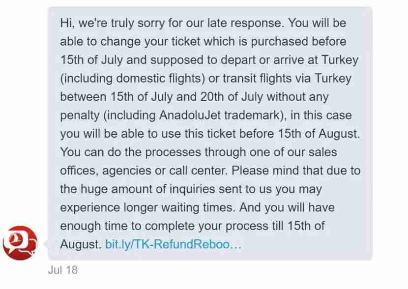 Finally a response via Twitter — three days later — from the Turkish Airlines Help Desk.