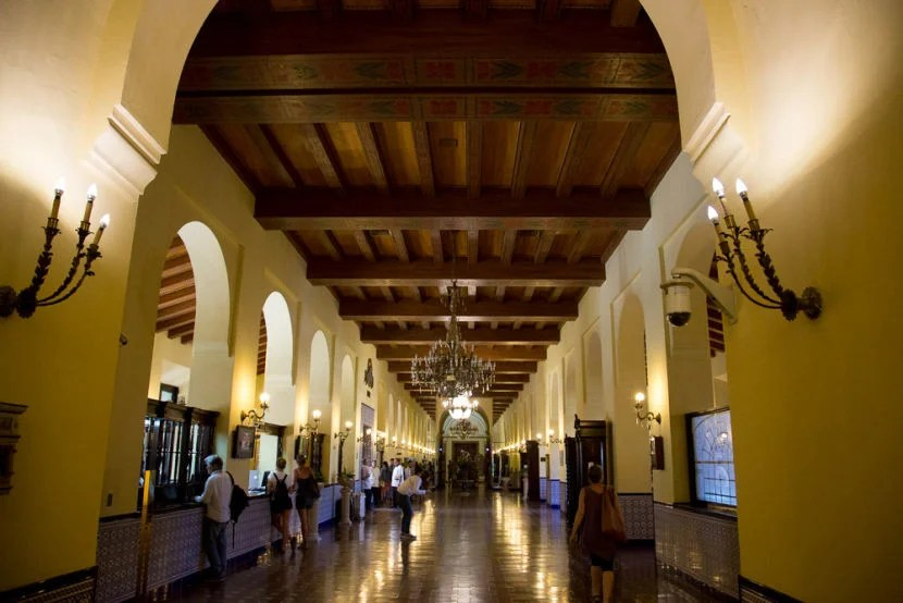 The lobby is more of a long hallway.