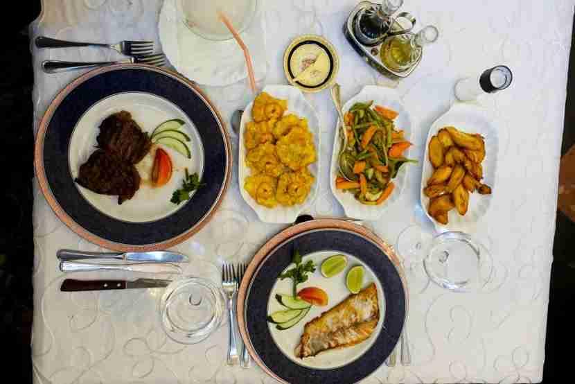 Cuban fare at San Cristobal. Try the sirloin steak (it