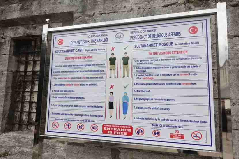The dress code for the Blue Mosque.