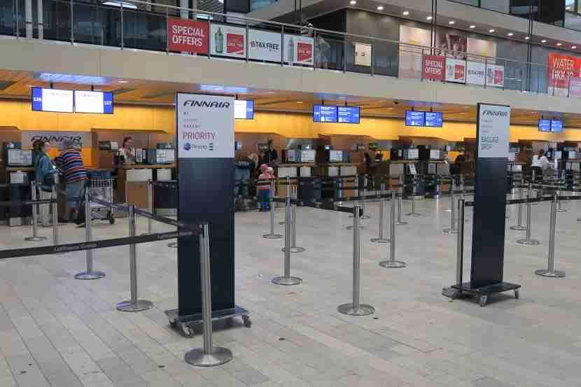 The Copenhagen Finnair check-in area was small and empty.