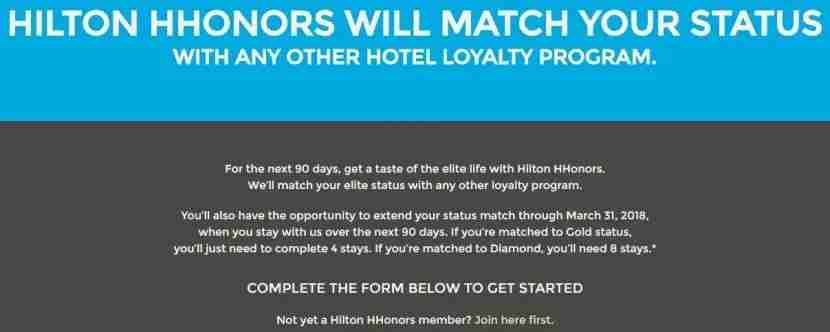 Hilton is now requiring stays to match to Hilton HHonors status.