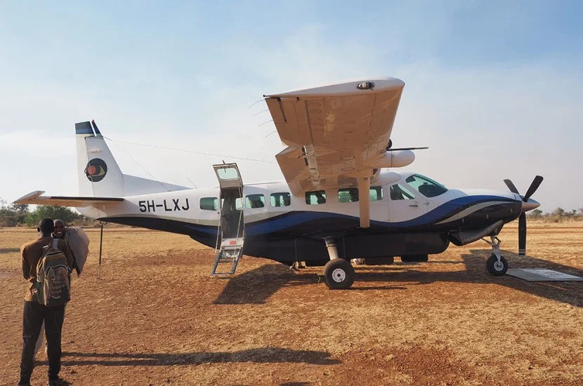 Sometimes when flying from Kilimanjaro to safari camps in the small regional propeller jets, you have to stop at other camps.
