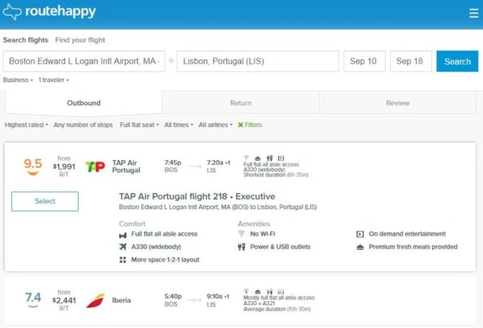 """<a href=""""https://www.routehappy.com/"""" target=""""_blank"""">RouteHappy</a> is a great way of easily comparing flight options."""