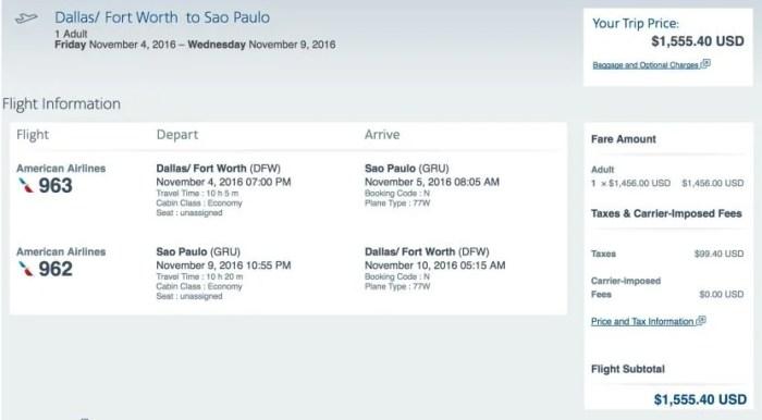 Dallas to Sao Paulo for $1,555 round-trip.