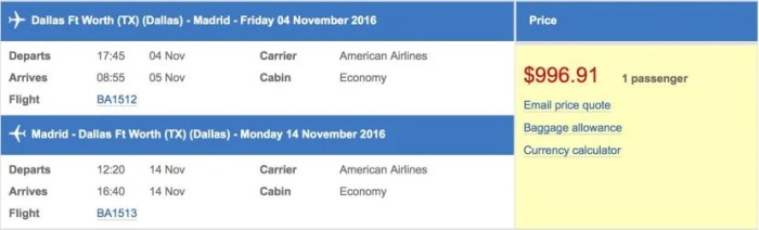 Using the AARP discount on British Airways's site, a round-trip economy ticket on the inaugural for $997.