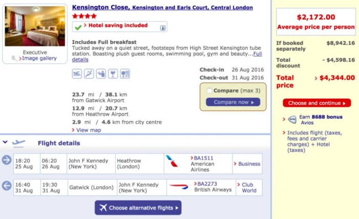 New York (JFK) to London (LHR) round-trip in Club World + five nights at the Kensington Close for $2,172 per person.