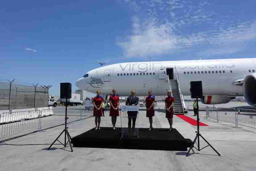 The press conference begins with an announcement by Virgin Australia Group CEO John Borghetti.