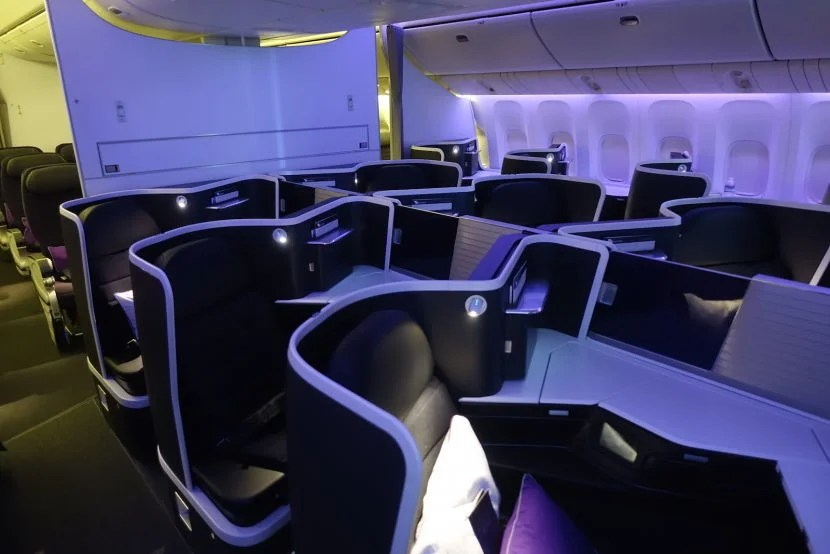 There is a smaller aft business-class cabin with just three rows.